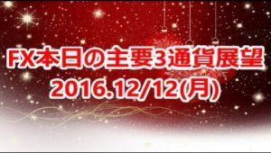 FX本日の主要3通貨展望2016.12/12(月)